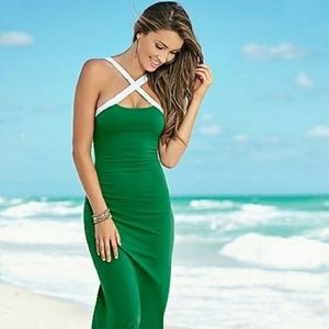 Venus Green Halter Maxi Dress